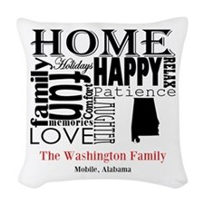 Alabama Text Woven Throw Pillow