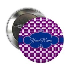 """Magenta Blue Personalized Name 2.25"""" Button"""