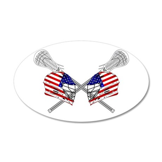 Two Lacrosse Helmets 35x21 Oval Wall Decal