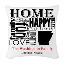 Arkansas Text Woven Throw Pillow