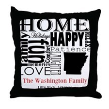 Arkansas Text Throw Pillow