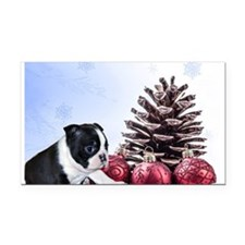 Christmas Boston Terrier Rectangle Car Magnet
