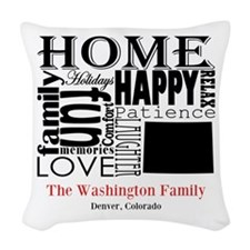 Colorado Text Woven Throw Pillow