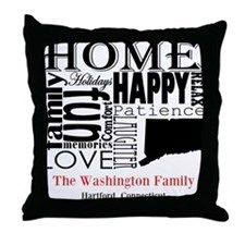 Connecticut Text Throw Pillow