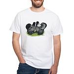 Gray Silkies White T-Shirt