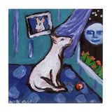 Bull Terrier mesmorized by moon Tile Coaster