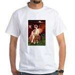 Angel & Golden Retrieve White T-Shirt