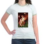 Angel & Golden Retrieve Jr. Ringer T-Shirt