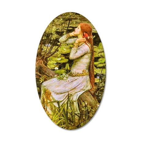 Waterhouse: Ophelia (1894) 20x12 Oval Wall Decal