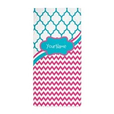 Pink Teal Chevron Quatre Personalized Beach Towel