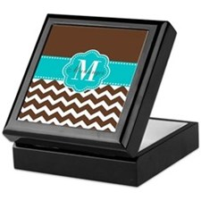 Brown Teal Chevron Personalized Keepsake Box