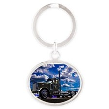 Cute Big rig Oval Keychain