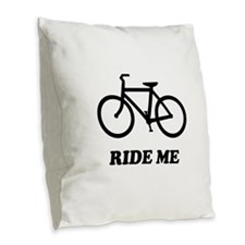 Bike ride me Burlap Throw Pillow