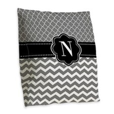Gray Black Chevron Quatrefoil Monogram Burlap Throw Pillow