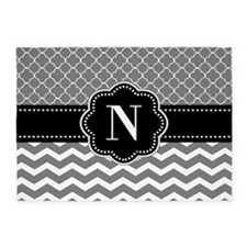 Black Gray Quatrefoil Chevron Monogram 5'x7'Area R