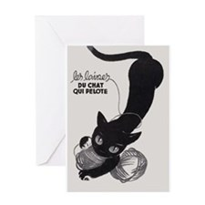 Cat and Yarn; French Vintage Poster Greeting Cards