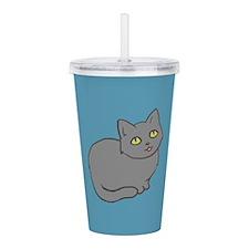Cute Grey Cat Acrylic Double-wall Tumbler