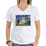Starry Night & Golden Women's V-Neck T-Shirt