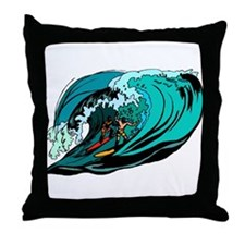 surfing tube Throw Pillow