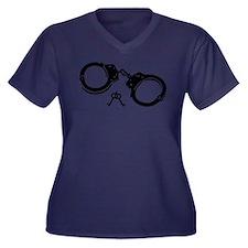 Handcuffs ke Women's Plus Size V-Neck Dark T-Shirt