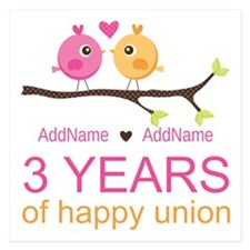 3rd Year Anniversary Person 5.25 x 5.25 Flat Cards