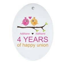 4th Year Anniversary Personalized Ornament (Oval)