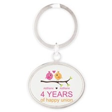 4th Year Anniversary Personalized Oval Keychain