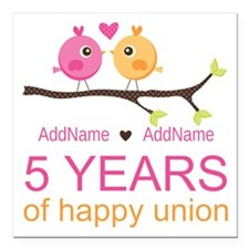"5th Anniversary Personal Square Car Magnet 3"" x 3"""
