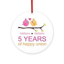 5th Anniversary Personalized Ornament (Round)