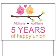 5th Anniversary Personalized Yard Sign
