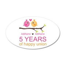 5th Anniversary Personalized Wall Decal