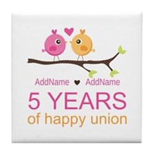 5th Anniversary Personalized Tile Coaster