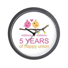 5th Anniversary Personalized Wall Clock