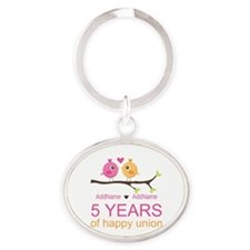 5th Anniversary Personalized Oval Keychain