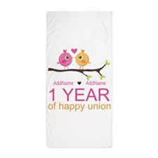 1st Anniversary Personalized Beach Towel