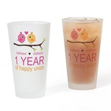 1st Anniversary Personalized Drinking Glass