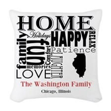 Illinois Text Woven Throw Pillow