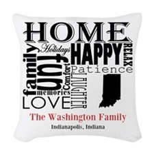 Indiana Text Woven Throw Pillow