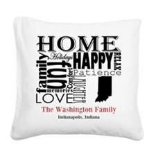 Indiana Text Square Canvas Pillow