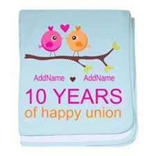 10th Anniversary Personalized baby blanket