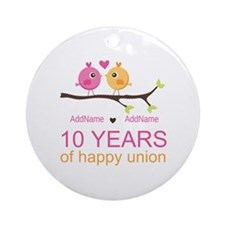 10th Anniversary Personalized Ornament (Round)