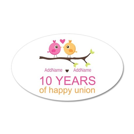 10th Anniversary Personalize 20x12 Oval Wall Decal