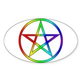 Rainbow Pentacle Oval Decal