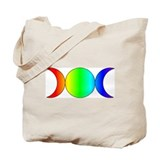 Triple Moon/Pentacle Rainbow Tote Bag - Reversible