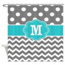 Gray Teal Dots Chevron Monogram Shower Curtain