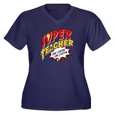 Teacher Supe Women's Plus Size V-Neck Dark T-Shirt