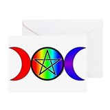 Triple Moon Pentacle Greeting Cards - Rainbow (6)