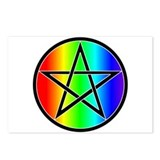 Rainbow Pentacle Postcards - Black (Package of 8)