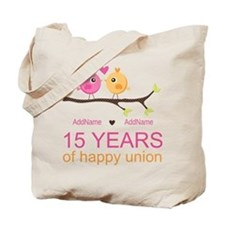15th Anniversary Personalized Tote Bag