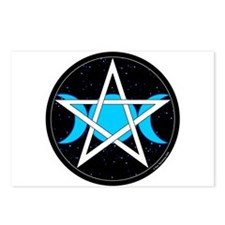 Pentacle Triple Moon Postcards - Black (Pkg of 8)